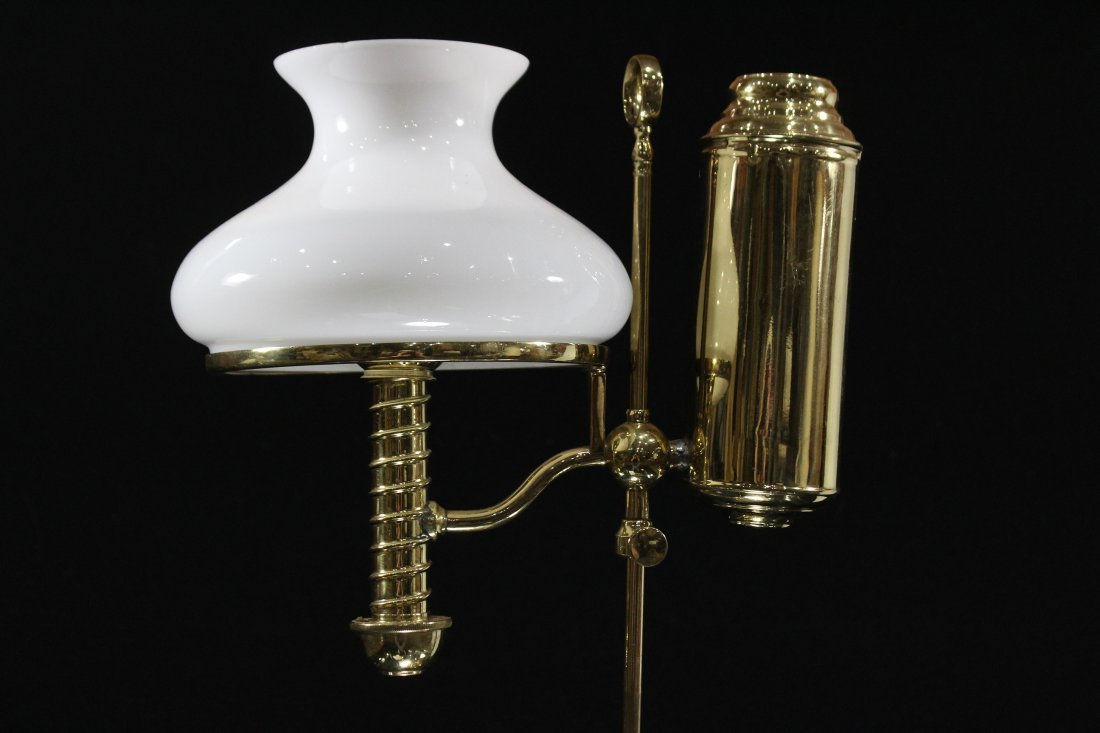 BRASS STUDENT LAMP WITH WHITE GLASS SHADE Electrified - 2
