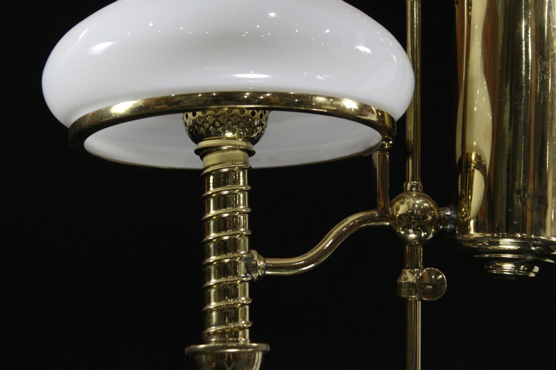 BRASS STUDENT LAMP WITH WHITE GLASS SHADE Electrified - 3