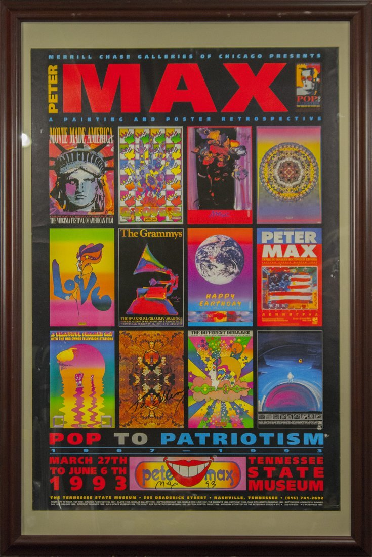 PETER MAX Signed 1993 Poster POP TO PATRIOTISM TENNESEE