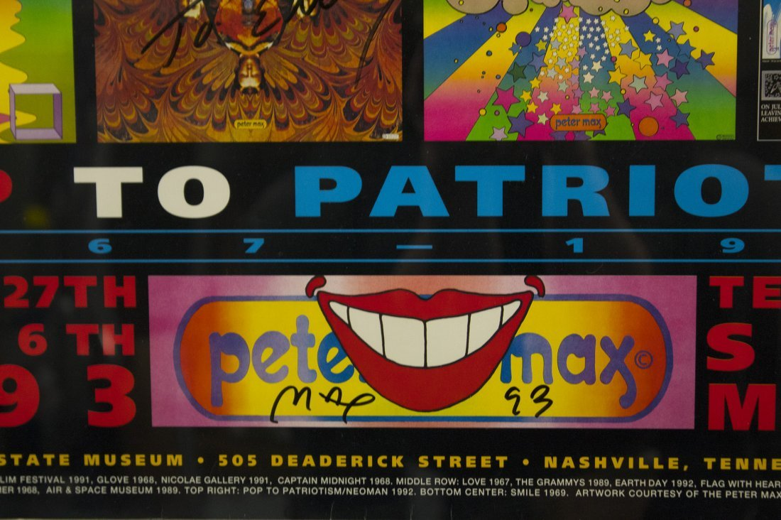 PETER MAX Signed 1993 Poster POP TO PATRIOTISM TENNESEE - 2