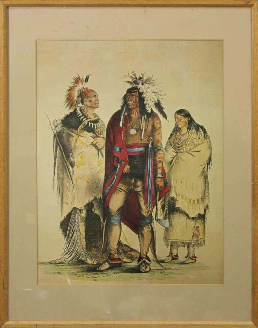 Vintage NATIVE AMERICAN INDIAN PRINT 3 FIGURES