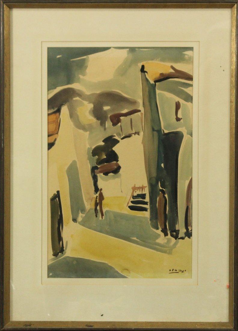 Y DROR c. 1961 ISRAEL Artist Watercolor Village Alley