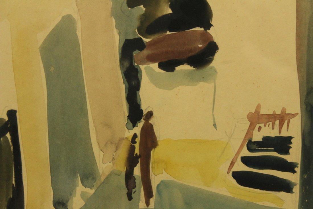 Y DROR c. 1961 ISRAEL Artist Watercolor Village Alley - 3