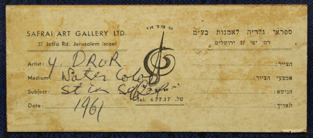 Y DROR c. 1961 ISRAEL Artist Watercolor Village Alley - 5