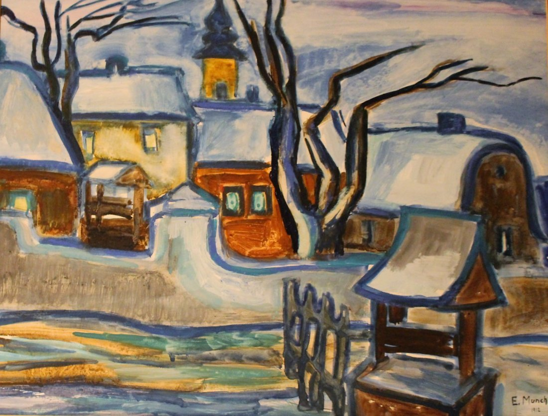 E. MUNCH 1912 Gouache, European Village In Winter