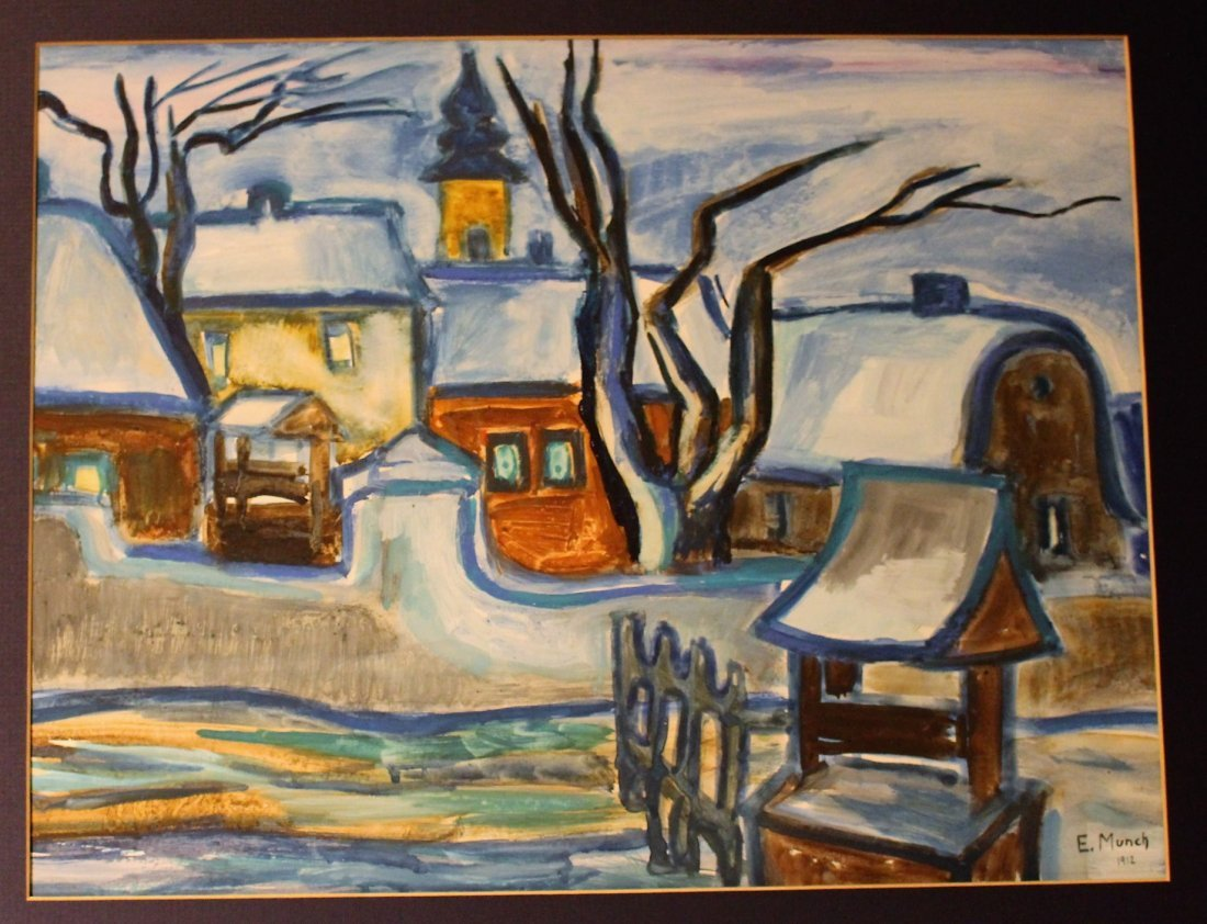 E. MUNCH 1912 Gouache, European Village In Winter - 2