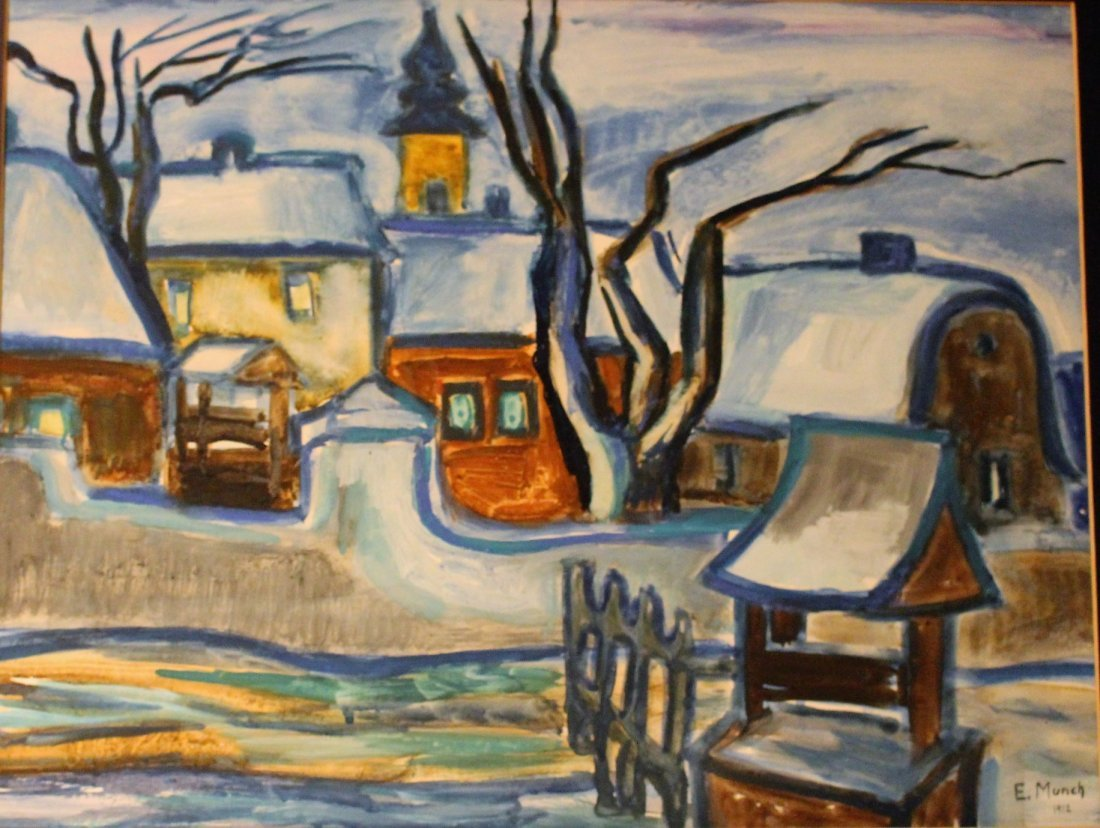 E. MUNCH 1912 Gouache, European Village In Winter - 3