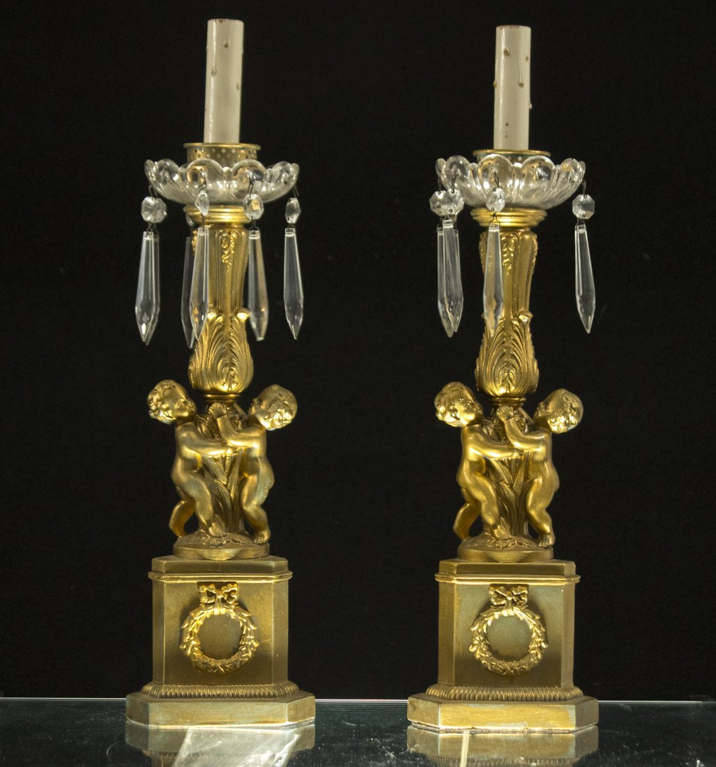 Pair Antique Brass FRENCH EMPIRE TALL CANDLESTICKS