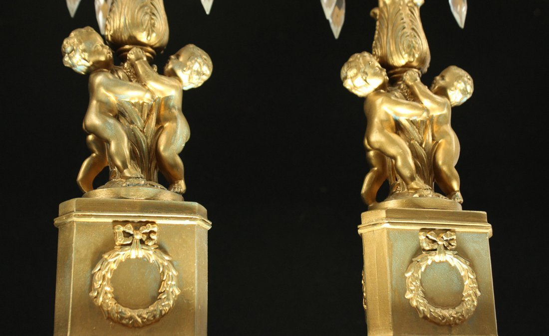 Pair Antique Brass FRENCH EMPIRE TALL CANDLESTICKS - 2