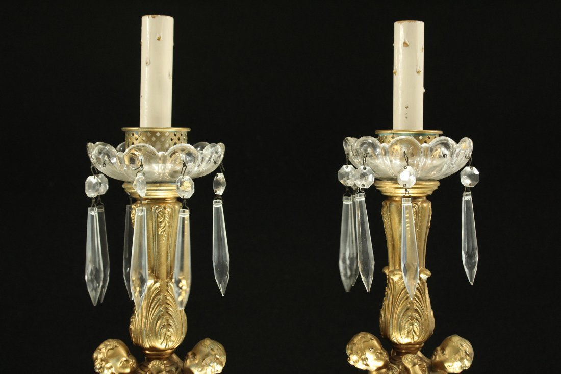 Pair Antique Brass FRENCH EMPIRE TALL CANDLESTICKS - 5