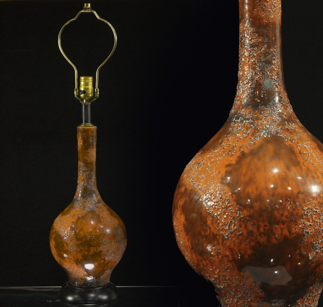 Mid Century Modern Glazed Art Pottery Table Lamp