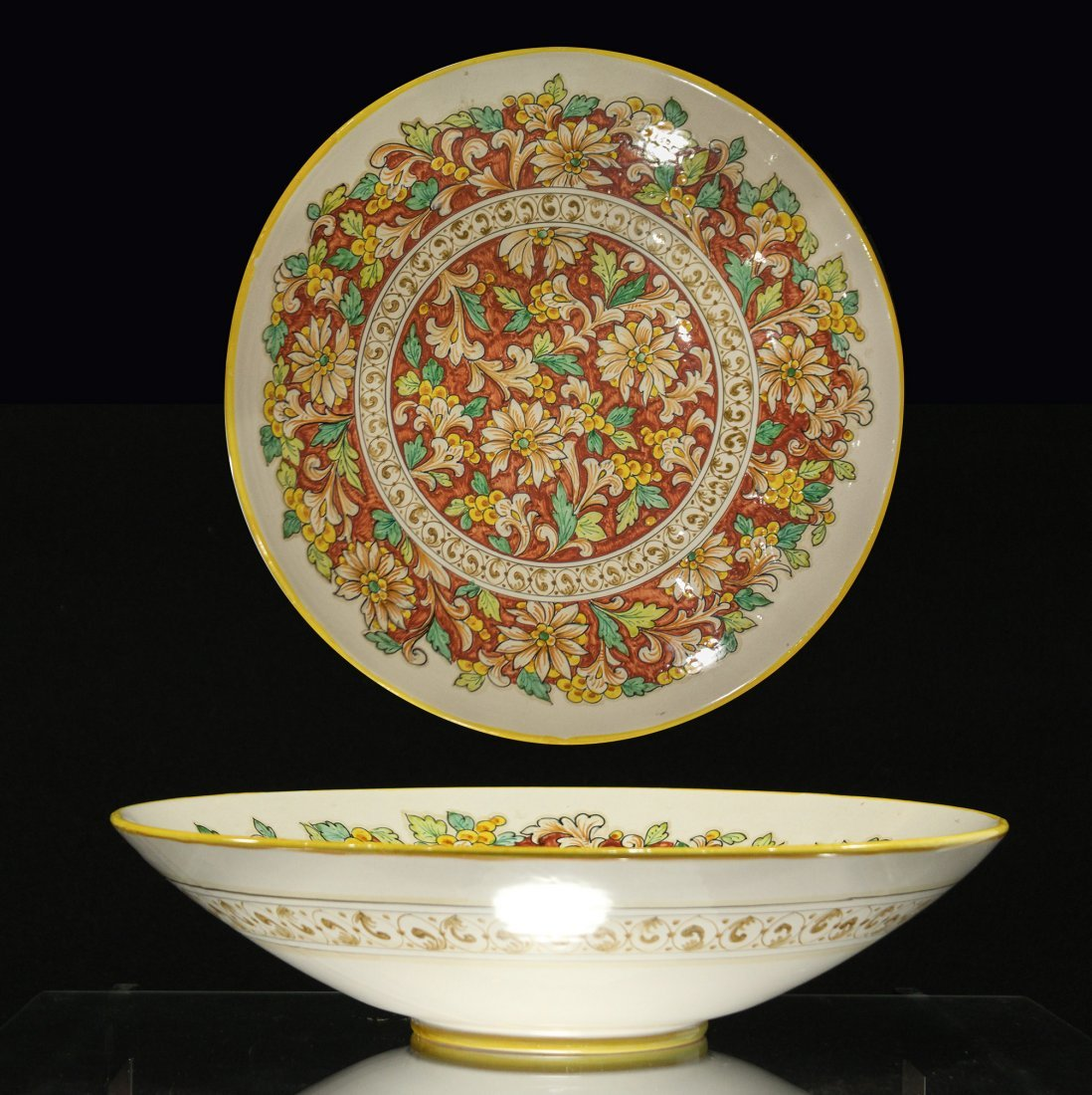 DERUTA ITALY Decorated Glazed Ceramic Center Bowl
