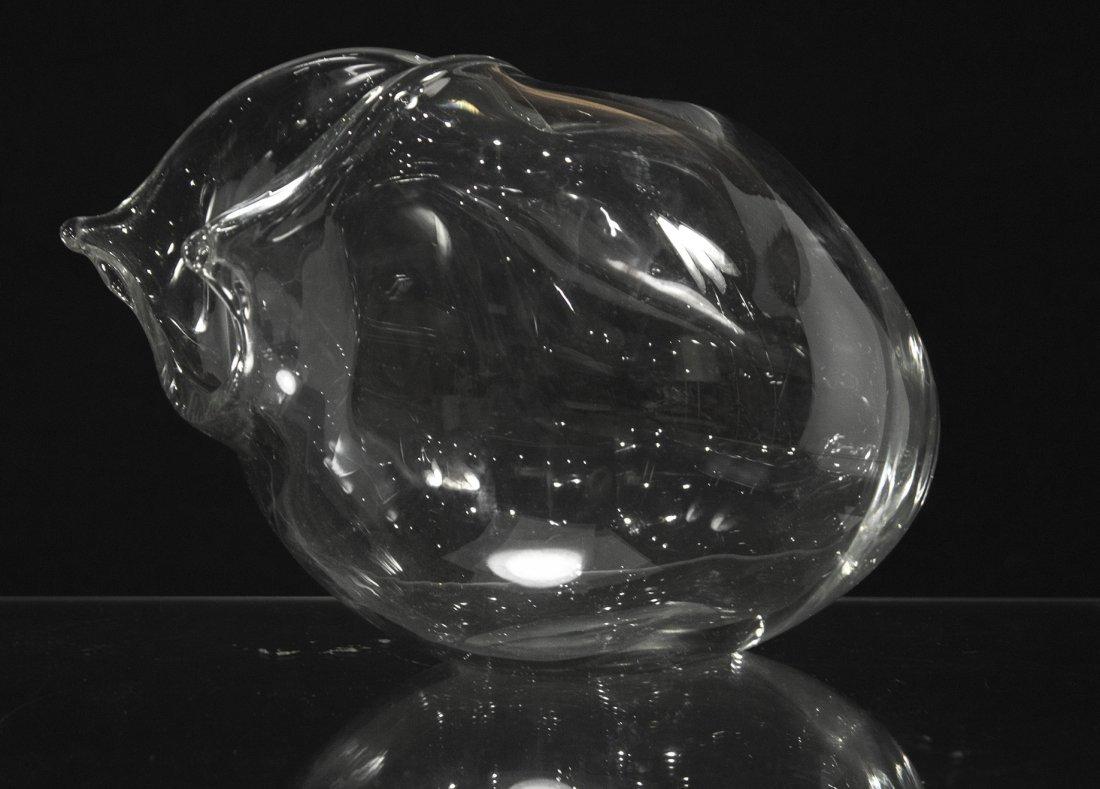 MID CENTURY MODERN FREE FORM SIDE OPEN GLASS VASE