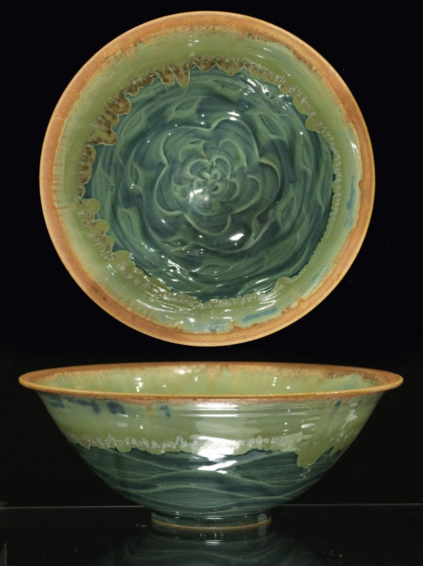 STUDIO GREEN ART POTTERY BOWL Signed