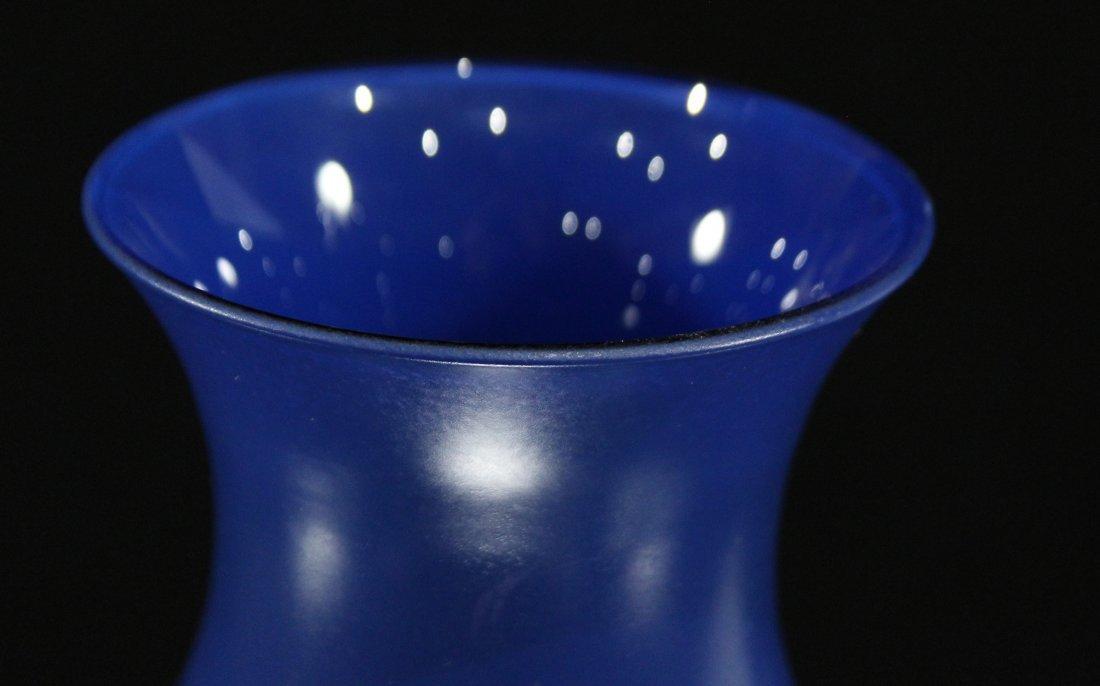 Mid Century BLUE GLASS VASE Matte Outer, Glossy Inner - 2