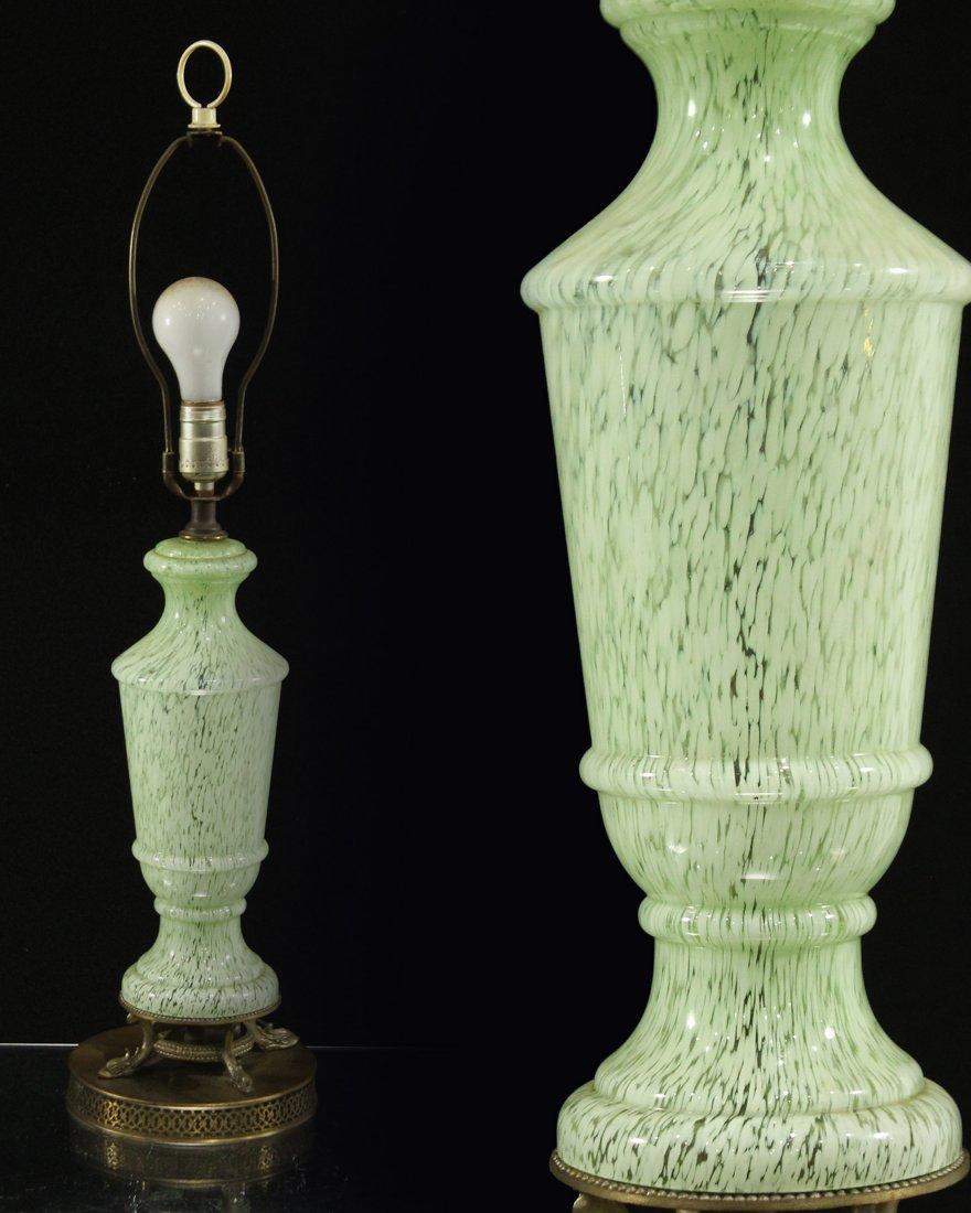 MID CENTURY MODERN ITALIAN GLASS GREEN WHITE RAIN LAMP