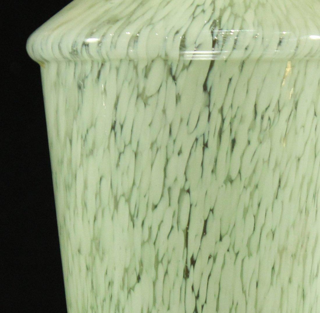 MID CENTURY MODERN ITALIAN GLASS GREEN WHITE RAIN LAMP - 4