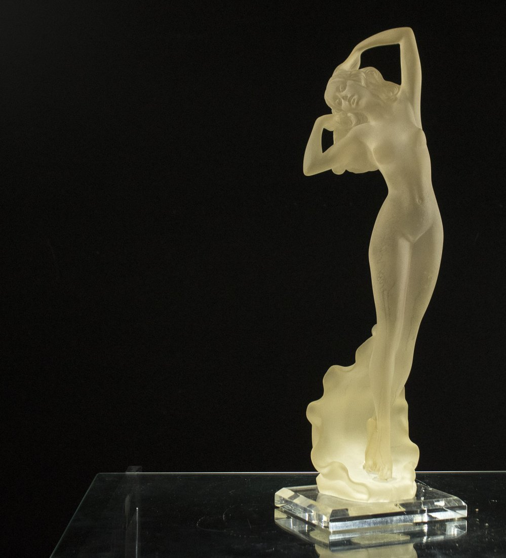 Mid Century SATIN LUCITE NUDE GIRL STANDING Clear Base