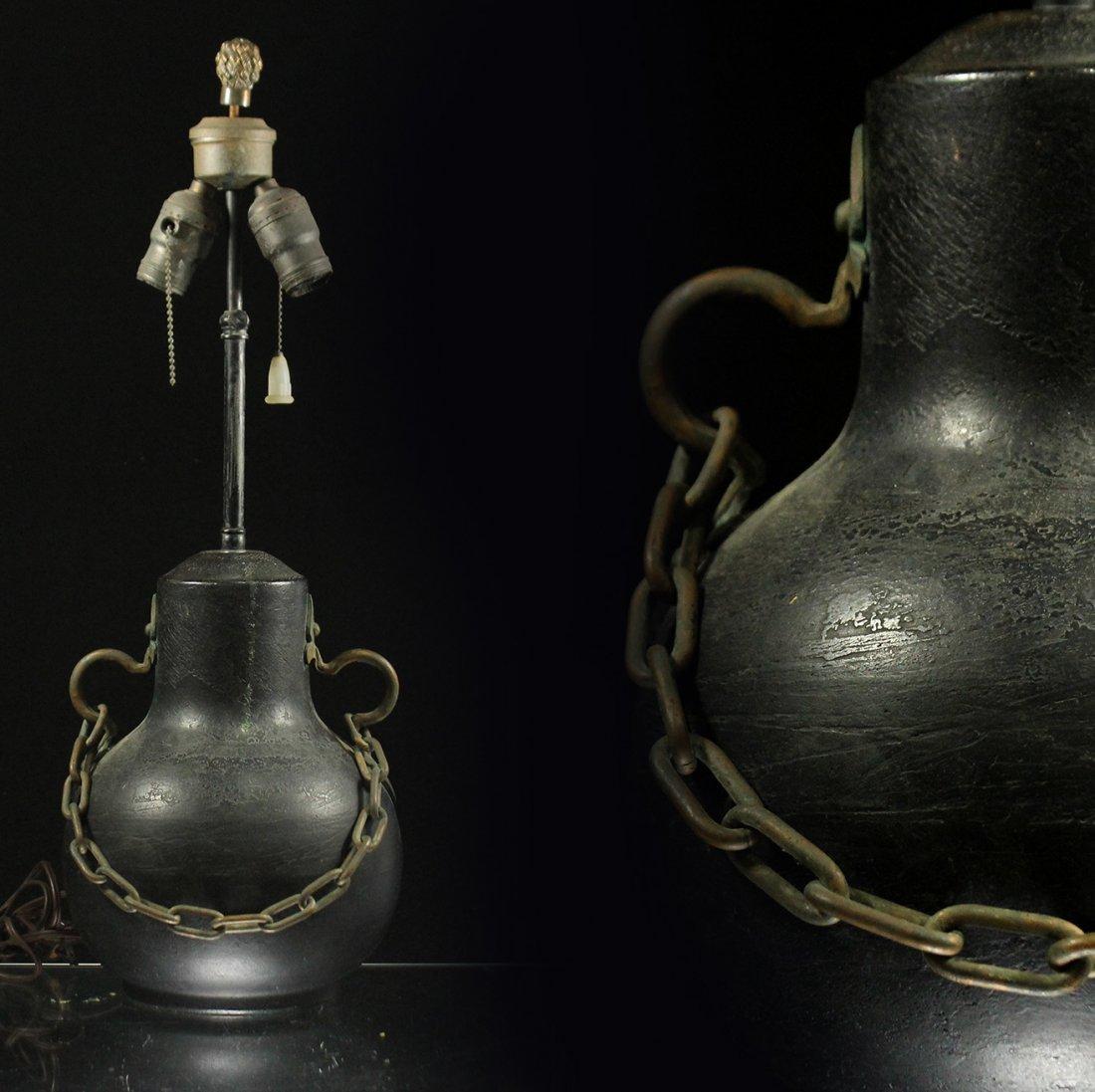 Unique BRONZE ARTS & CRAFTS LAMP BRASS HANDLES & CHAIN