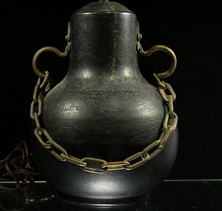 Unique BRONZE ARTS & CRAFTS LAMP BRASS HANDLES & CHAIN - 2