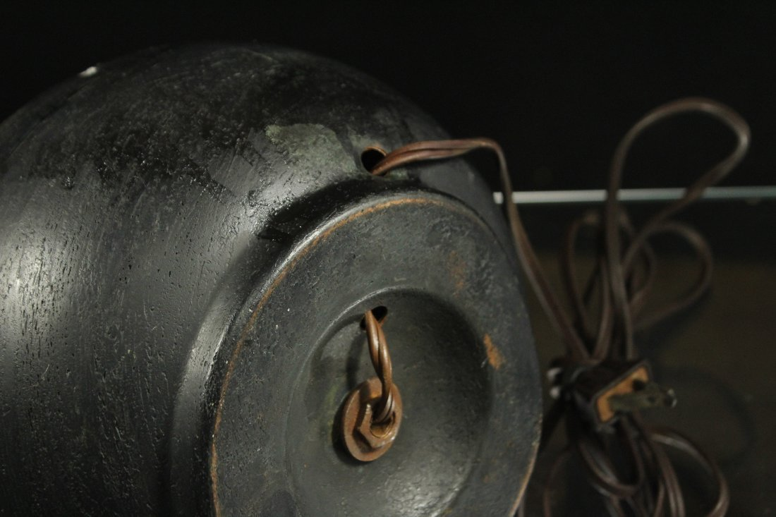 Unique BRONZE ARTS & CRAFTS LAMP BRASS HANDLES & CHAIN - 4