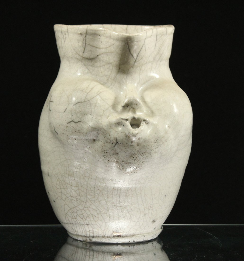 Mid Century White Glazed Art Pottery Vase Face Blowing