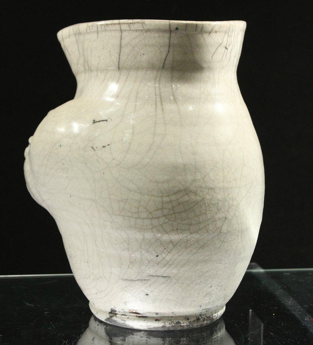 Mid Century White Glazed Art Pottery Vase Face Blowing - 3