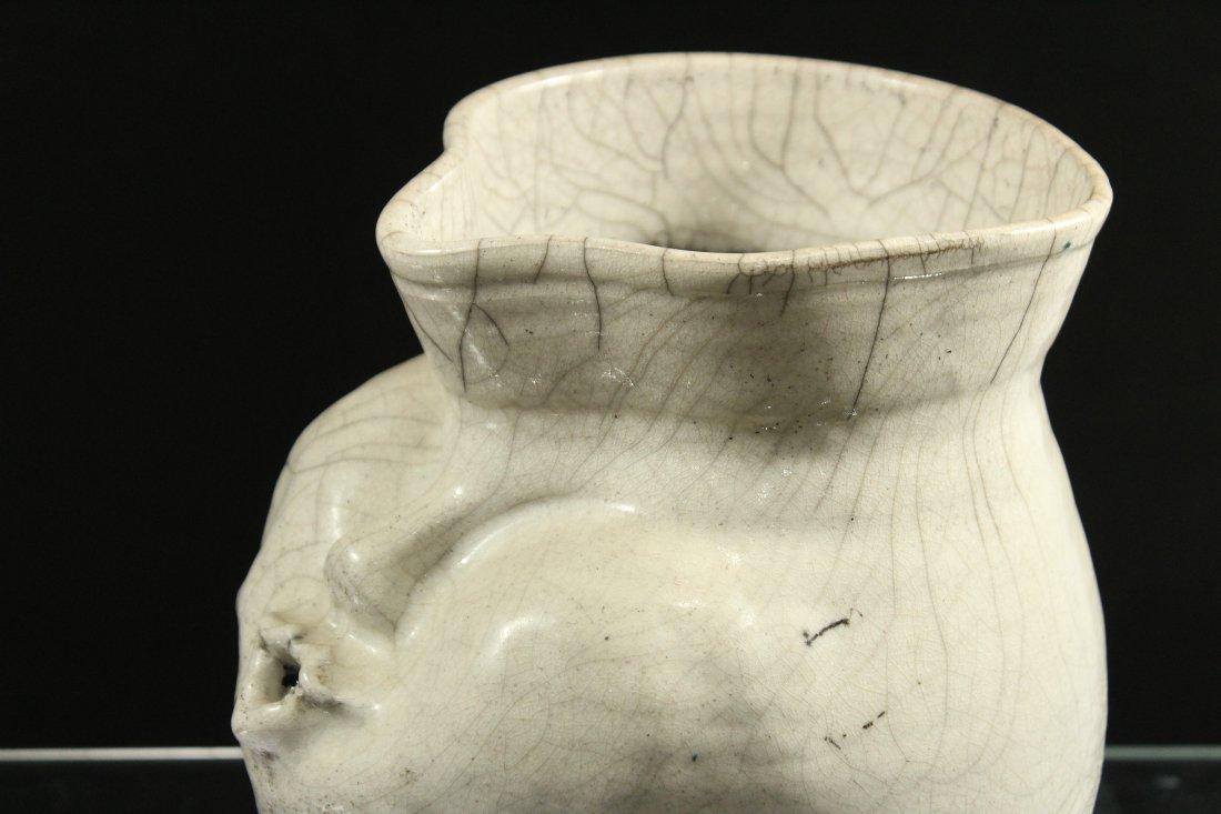 Mid Century White Glazed Art Pottery Vase Face Blowing - 4