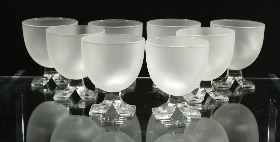Set Eight [8] Mid Century Satin Glass Sherries