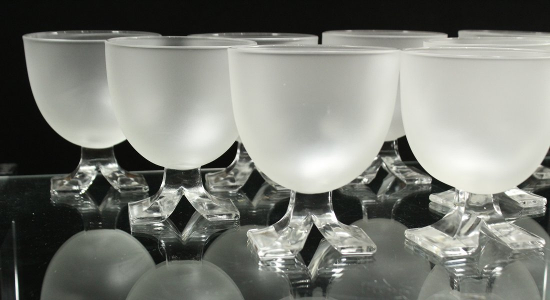 Set Eight [8] Mid Century Satin Glass Sherries - 2