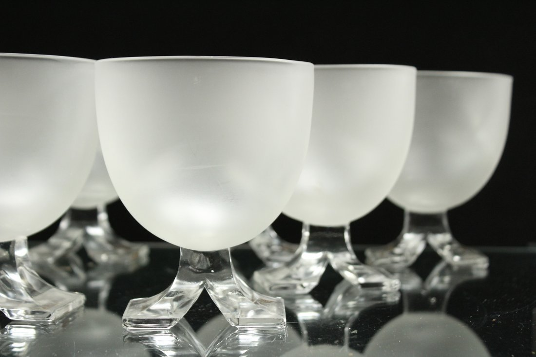 Set Eight [8] Mid Century Satin Glass Sherries - 3