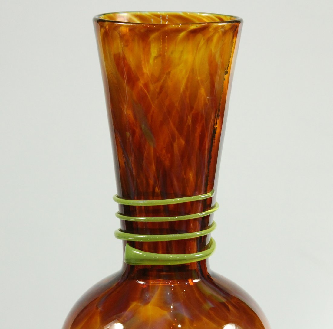 Mid Century Italian Art Glass Vase Amber With Green - 3