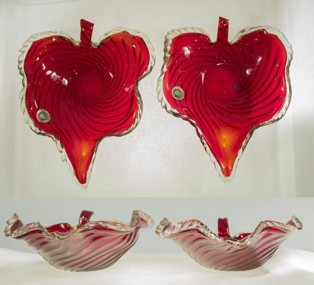 Pair Large MURANO ITALIAN GLASS RED SWIRL  LEAF DISHES