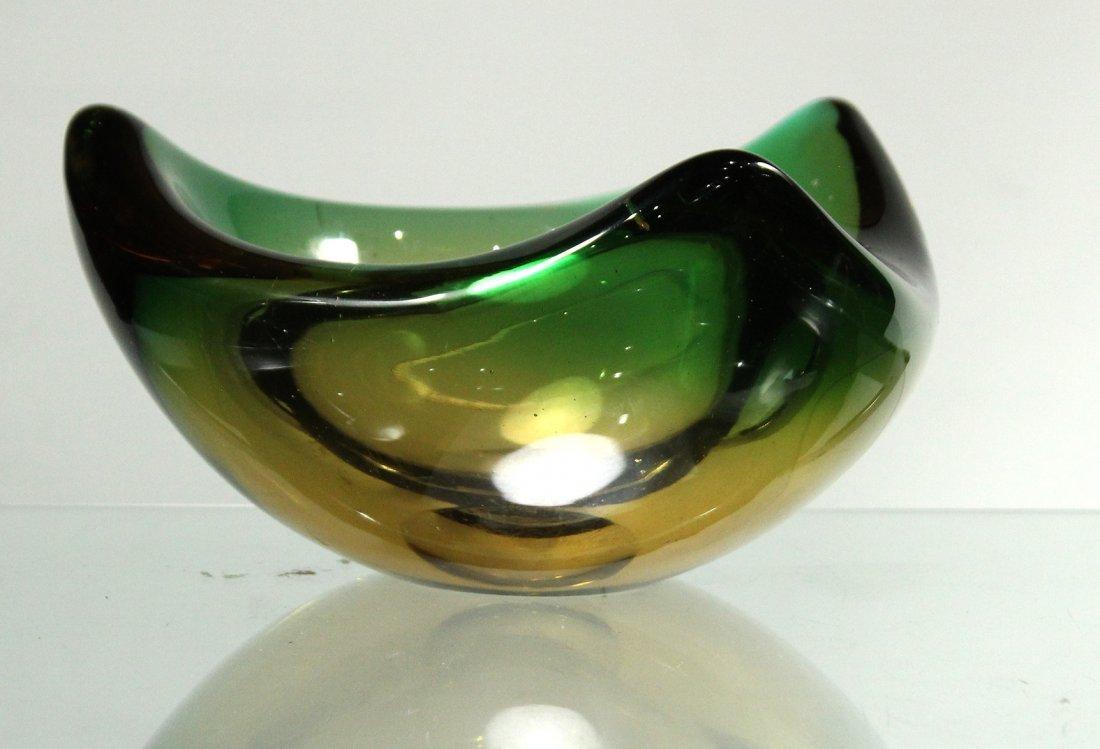 Mid Century Italian Art Glass Bowl Green Yellow Clear