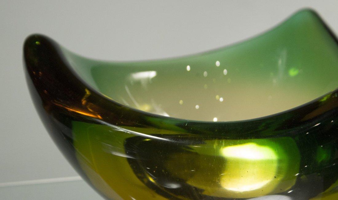 Mid Century Italian Art Glass Bowl Green Yellow Clear - 2