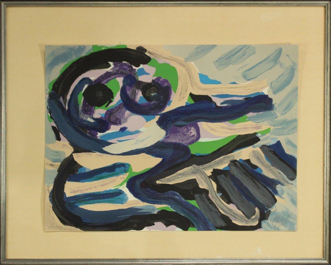 KAREL APPEL OFF-SET LITHOGRAPH #156 Ed 160 BLUE FIGURE