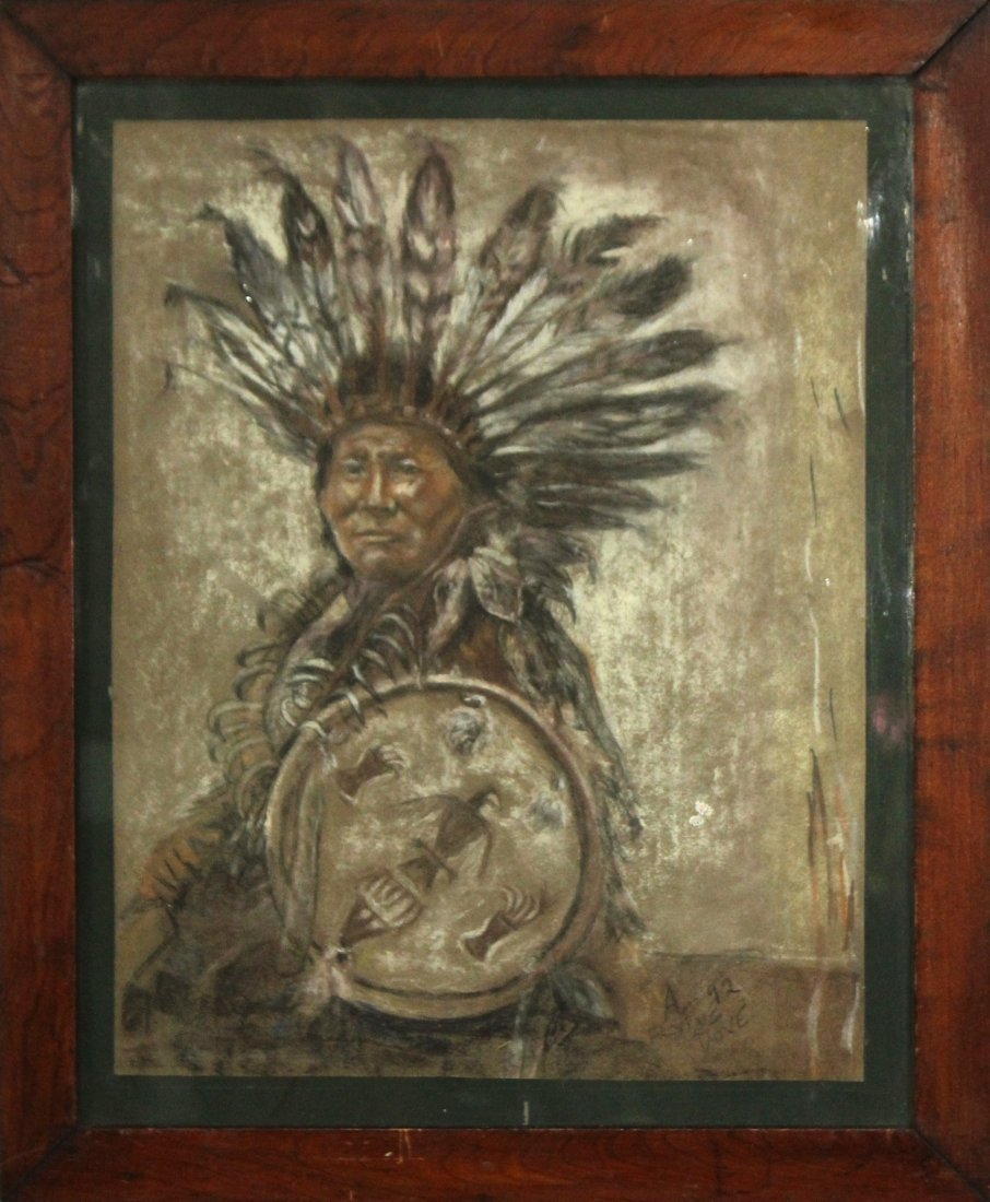 FLYNG DOVE Native American Indian Chief Pastel Portrait