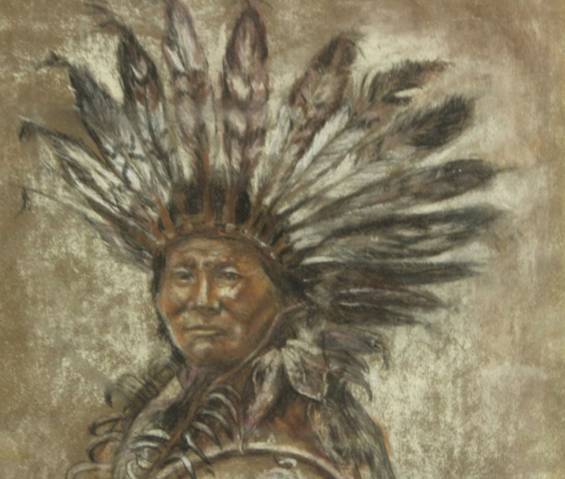 FLYNG DOVE Native American Indian Chief Pastel Portrait - 2