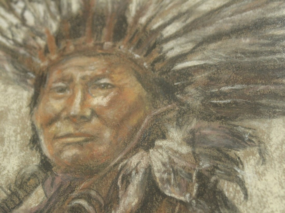 FLYNG DOVE Native American Indian Chief Pastel Portrait - 3