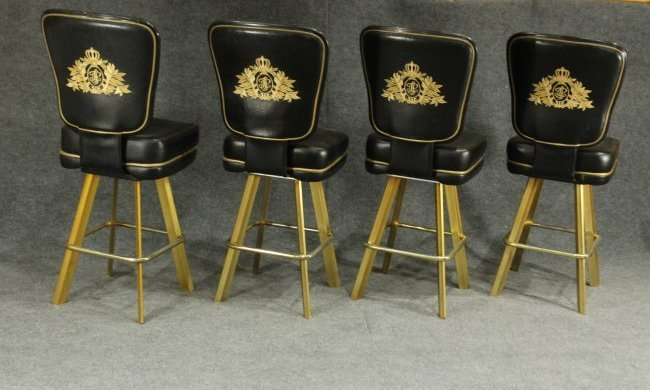 SET of 4 TRUMP PLAZA CASINO BLACKJACK BAR STOOLS