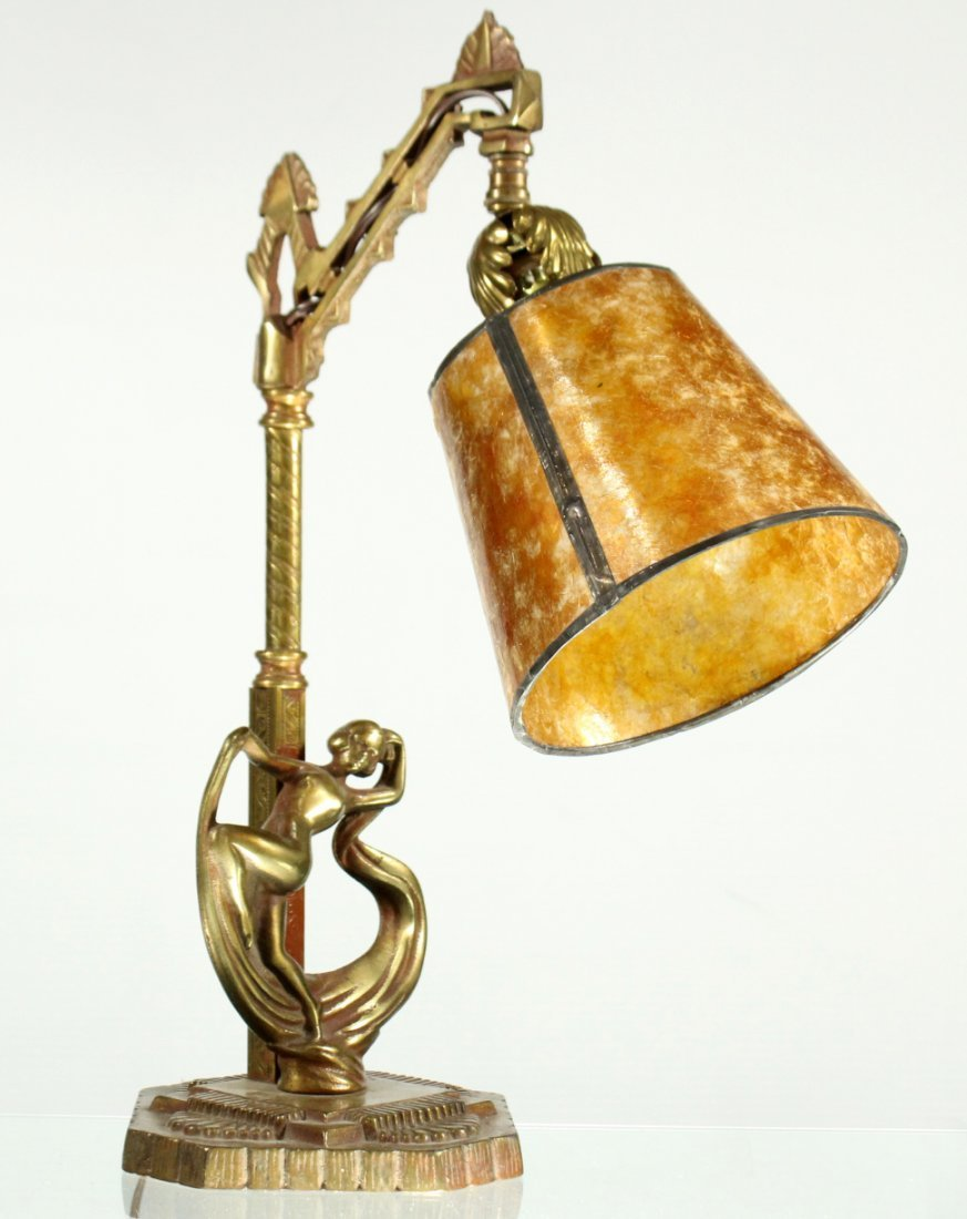 Art deco brass adjustable desk lamp with dancing lady