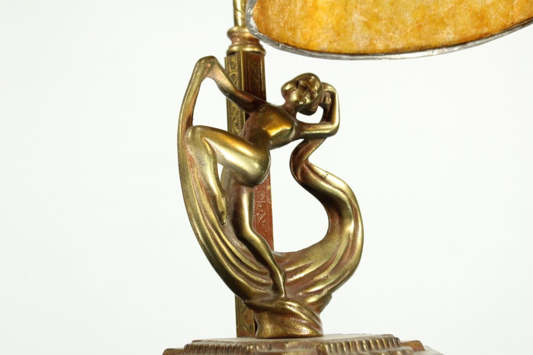 Art deco brass adjustable desk lamp with dancing lady - 2