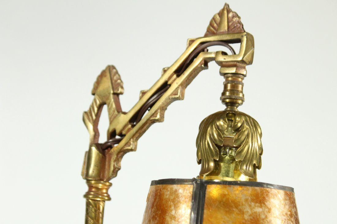 Art deco brass adjustable desk lamp with dancing lady - 4
