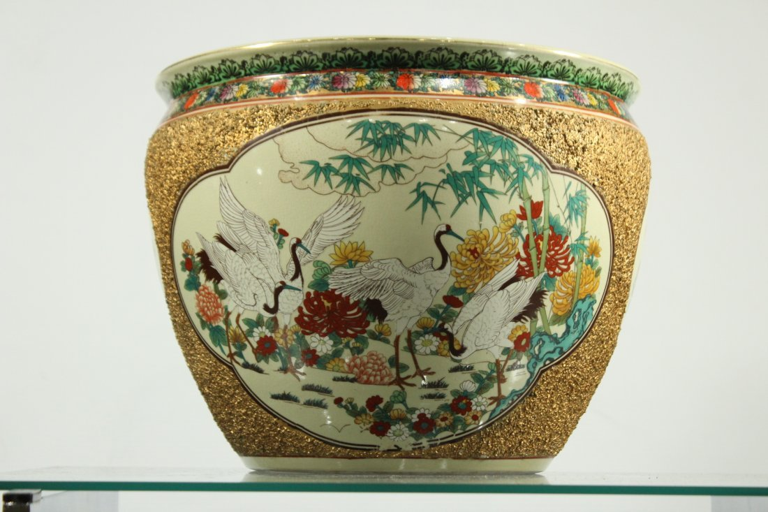 QUALITY ORIENTAL PORCELAIN FISH BOWL GOLD TEXTURED SIDE