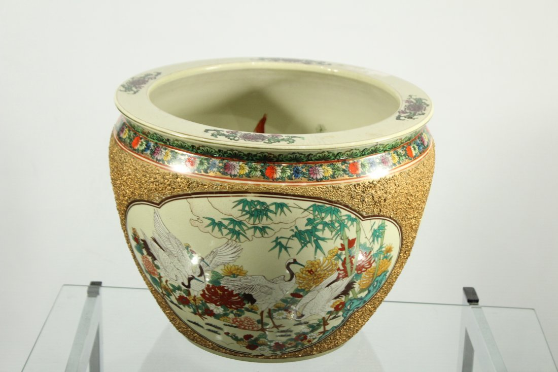 QUALITY ORIENTAL PORCELAIN FISH BOWL GOLD TEXTURED SIDE - 3