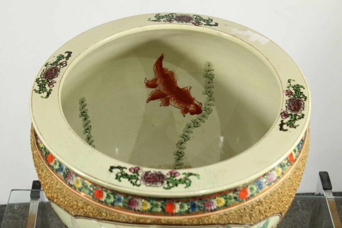 QUALITY ORIENTAL PORCELAIN FISH BOWL GOLD TEXTURED SIDE - 4