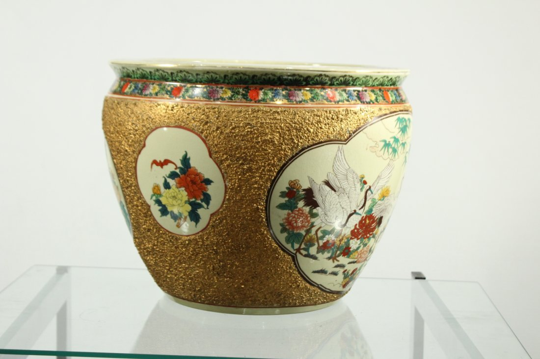 QUALITY ORIENTAL PORCELAIN FISH BOWL GOLD TEXTURED SIDE - 5