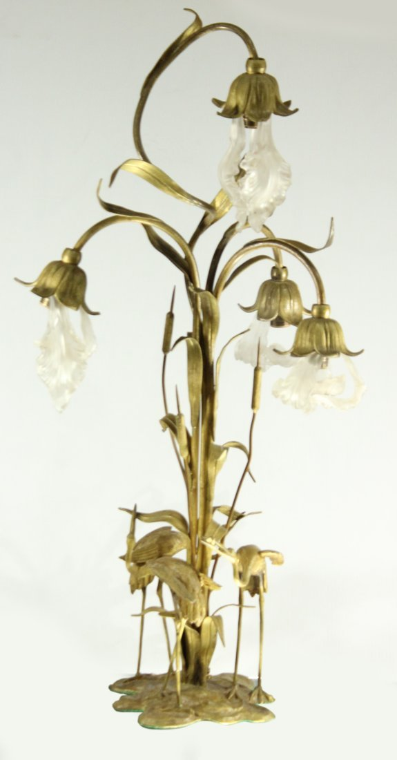 TALL FRENCH BRONZE WATER LILY LAMP SATIN GLASS SHADES