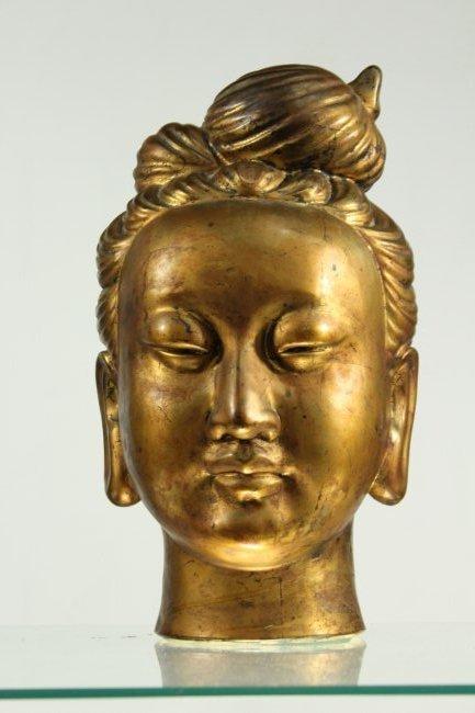 large Buddha metal head statue