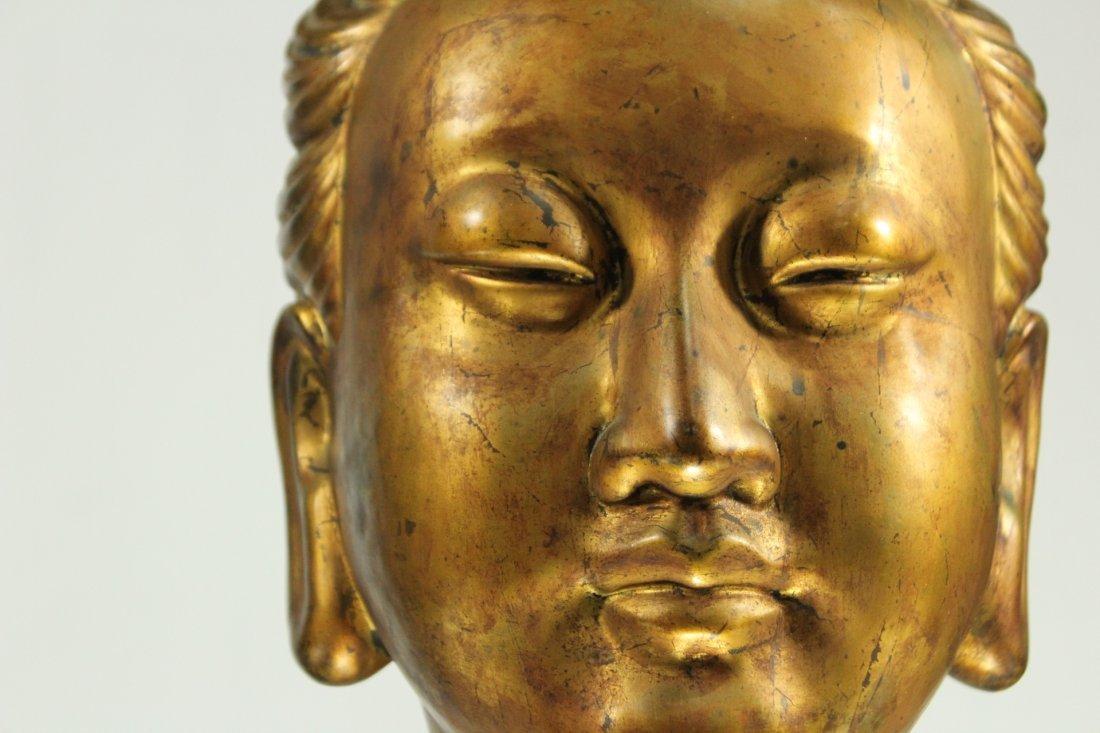 large Buddha metal head statue - 2
